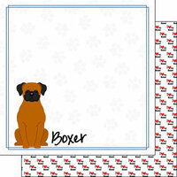 Scrapbook Customs - Puppy Love Collection - 12 x 12 Double Sided Paper - Breed - Boxer