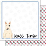 Scrapbook Customs - Puppy Love Collection - 12 x 12 Double Sided Paper - Breed - Bull Terrier