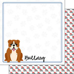 Scrapbook Customs - Puppy Love Collection - 12 x 12 Double Sided Paper - Breed - Bulldog