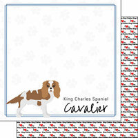 Scrapbook Customs - Puppy Love Collection - 12 x 12 Double Sided Paper - Breed - Cavalier King Charles