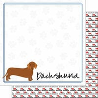 Scrapbook Customs - Puppy Love Collection - 12 x 12 Double Sided Paper - Breed - Dachshund