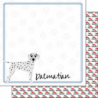 Scrapbook Customs - Puppy Love Collection - 12 x 12 Double Sided Paper - Breed - Dalmatian