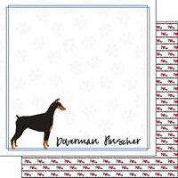 Scrapbook Customs - Puppy Love Collection - 12 x 12 Double Sided Paper - Breed - Doberman