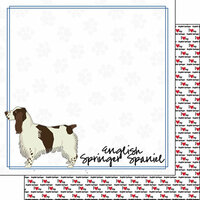 Scrapbook Customs - Puppy Love Collection - 12 x 12 Double Sided Paper - Breed - English Springer Spaniel