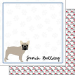 Scrapbook Customs - Puppy Love Collection - 12 x 12 Double Sided Paper - Breed - French Bulldog