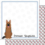 Scrapbook Customs - Puppy Love Collection - 12 x 12 Double Sided Paper - Breed - German Shepherd