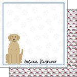 Scrapbook Customs - Puppy Love Collection - 12 x 12 Double Sided Paper - Breed - Golden Retriever