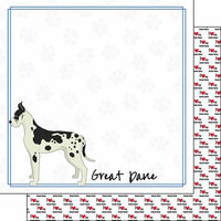 Scrapbook Customs - Puppy Love Collection - 12 x 12 Double Sided Paper - Breed - Great Dane