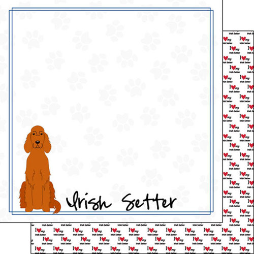 Scrapbook Customs - Puppy Love Collection - 12 x 12 Double Sided Paper - Breed - Irish Setter
