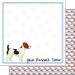 Scrapbook Customs - Puppy Love Collection - 12 x 12 Double Sided Paper - Breed - Jack Russell Terrier