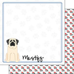 Scrapbook Customs - Puppy Love Collection - 12 x 12 Double Sided Paper - Breed - Mastiff