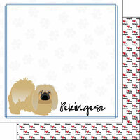 Scrapbook Customs - Puppy Love Collection - 12 x 12 Double Sided Paper - Breed - Pekingese