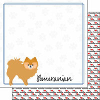 Scrapbook Customs - Puppy Love Collection - 12 x 12 Double Sided Paper - Breed - Pomeranian