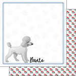 Scrapbook Customs - Puppy Love Collection - 12 x 12 Double Sided Paper - Breed - Poodle