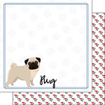 Scrapbook Customs - Puppy Love Collection - 12 x 12 Double Sided Paper - Breed - Pug