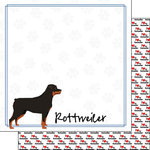 Scrapbook Customs - Puppy Love Collection - 12 x 12 Double Sided Paper - Breed - Rottweiler