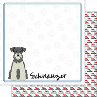 Scrapbook Customs - Puppy Love Collection - 12 x 12 Double Sided Paper - Breed - Schnauzer