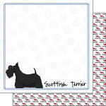 Scrapbook Customs - Puppy Love Collection - 12 x 12 Double Sided Paper - Breed - Scottish Terrier