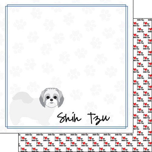 Scrapbook Customs - Puppy Love Collection - 12 x 12 Double Sided Paper - Breed - Shih Tzu