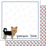 Scrapbook Customs - Puppy Love Collection - 12 x 12 Double Sided Paper - Breed - Yorkshire Terrier
