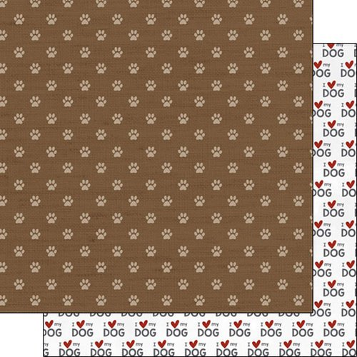 Scrapbook Customs - Puppy Love Collection - 12 x 12 Double Sided Paper - Paw Print
