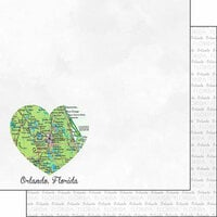 Scrapbook Customs - Magical Collection - 12 x 12 Double Sided Paper - Orlando FL Heart Map
