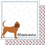 Scrapbook Customs - Puppy Love Collection - 12 x 12 Double Sided Paper - Breed - Bloodhound