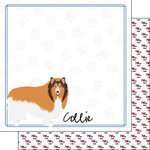 Scrapbook Customs - Puppy Love Collection - 12 x 12 Double Sided Paper - Breed - Collie