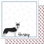 Scrapbook Customs - Puppy Love Collection - 12 x 12 Double Sided Paper - Breed - Husky