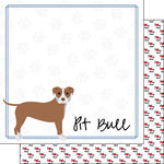 Scrapbook Customs - Puppy Love Collection - 12 x 12 Double Sided Paper - Breed - Pitbull