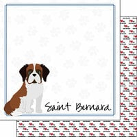 Scrapbook Customs - Puppy Love Collection - 12 x 12 Double Sided Paper - Breed - Saint Bernard
