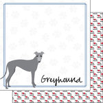 Scrapbook Customs - Puppy Love Collection - 12 x 12 Double Sided Paper - Breed - Greyhound
