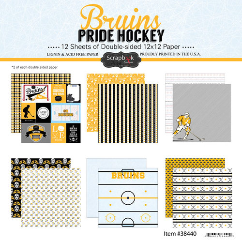 Scrapbook Customs - Hockey Collection - 12 x 12 Collection Kit - Bruins Pride