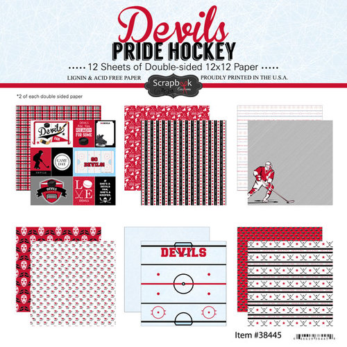Scrapbook Customs - Hockey Collection - 12 x 12 Collection Kit - Devils Pride