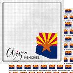 Scrapbook Customs - Adventure Collection - 12 x 12 Double Sided Paper - Adventure Flag - Arizona