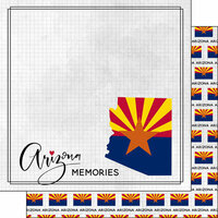 Scrapbook Customs - Adventure Collection - 12 x 12 Double Sided Paper - Adventure Flag - Arizona