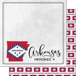 Scrapbook Customs - Adventure Collection - 12 x 12 Double Sided Paper - Adventure Flag - Arkansas