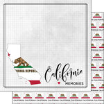 Scrapbook Customs - Adventure Collection - 12 x 12 Double Sided Paper - Adventure Flag - California