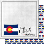 Scrapbook Customs - Adventure Collection - 12 x 12 Double Sided Paper - Adventure Flag - Colorado