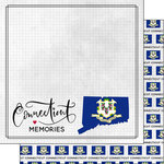 Scrapbook Customs - Adventure Collection - 12 x 12 Double Sided Paper - Adventure Flag - Connecticut