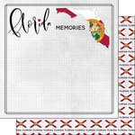 Scrapbook Customs - Adventure Collection - 12 x 12 Double Sided Paper - Adventure Flag - Florida