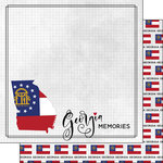 Scrapbook Customs - Adventure Collection - 12 x 12 Double Sided Paper - Adventure Flag - Georgia