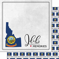 Scrapbook Customs - Adventure Collection - 12 x 12 Double Sided Paper - Adventure Flag - Idaho