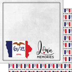 Scrapbook Customs - Adventure Collection - 12 x 12 Double Sided Paper - Adventure Flag - Iowa