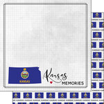 Scrapbook Customs - Adventure Collection - 12 x 12 Double Sided Paper - Adventure Flag - Kansas