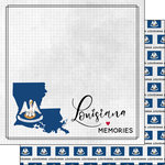 Scrapbook Customs - Adventure Collection - 12 x 12 Double Sided Paper - Adventure Flag - Louisiana