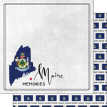 Scrapbook Customs - Adventure Collection - 12 x 12 Double Sided Paper - Adventure Flag - Maine