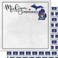Scrapbook Customs - Adventure Collection - 12 x 12 Double Sided Paper - Adventure Flag - Michigan