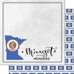 Scrapbook Customs - Adventure Collection - 12 x 12 Double Sided Paper - Adventure Flag - Minnesota