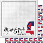 Scrapbook Customs - Adventure Collection - 12 x 12 Double Sided Paper - Adventure Flag - Mississippi